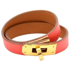 Hermes Kelly Double Tour Red Leather Bracelet