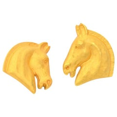 Hermes Gold Tone Horse Head Motif Earrings