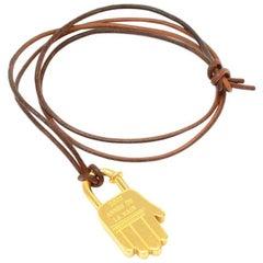 Hermes Gold Tone Hand Motif Cadena Pendant String Necklace