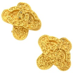 Chanel Gold Tone CC Logo Cross Shaped Earrings