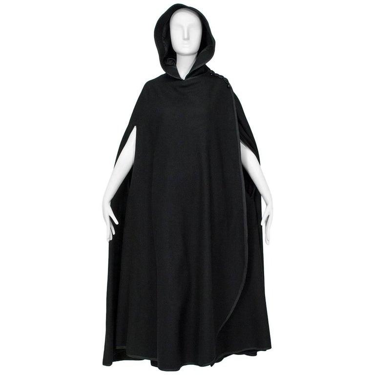 Sweeping Floor Length Hooded Cloak With Passementerie Trim