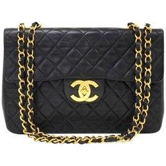 Vintage Chanel 13 Inch Maxi Jumbo Black Quilted Leather Shoulder Flap Bag