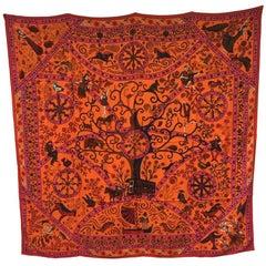 HERMES Shawl 'Peuple du Vent' in Pink, Orange and Cobalt Cashmere and Silk