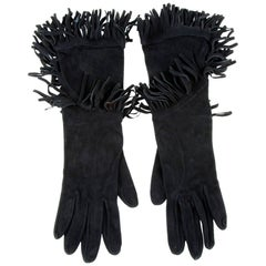 HERMES Mid-Length Fringed Gloves in Black Suede Size 7.5 EU