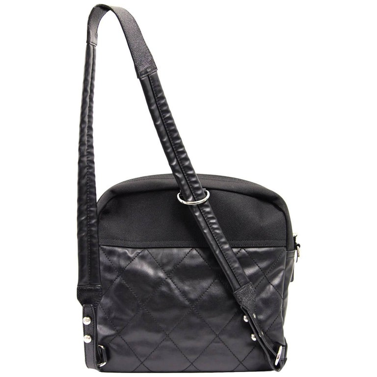 2000s Chanel Black Leather and Nylon Backpack For Sale