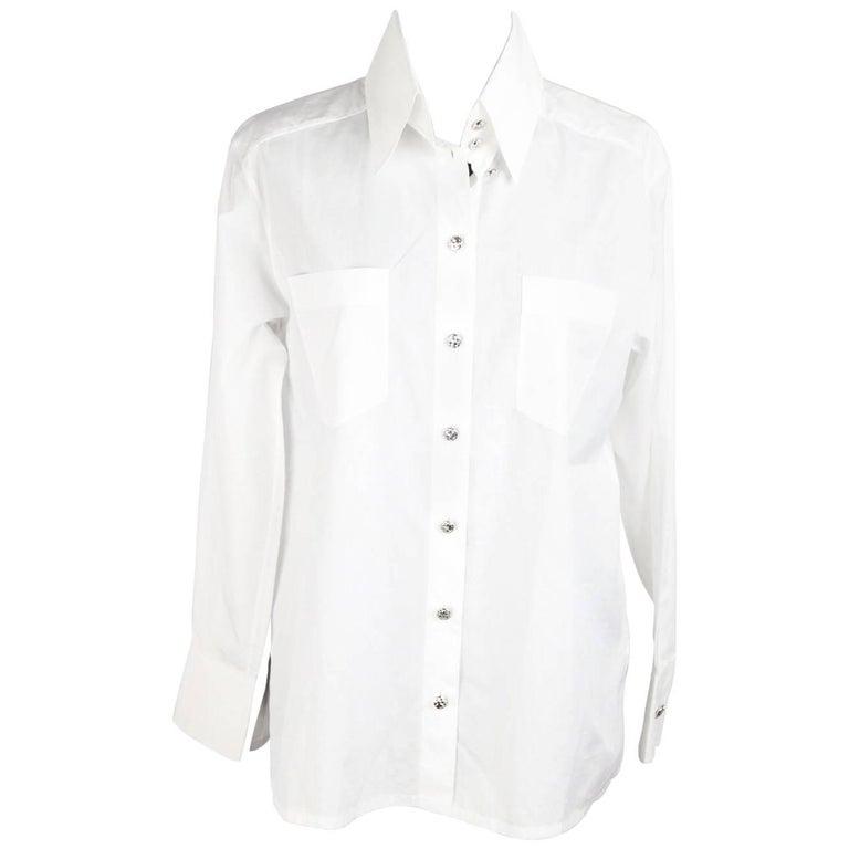 65304d27723a58 CHANEL White Cotton BUTTON DOWN SHIRT w/ Patch Pockets SIZE 34 For Sale
