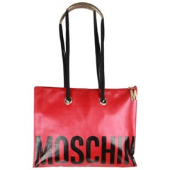 MOSCHINO Vintage Red Vinyl Canvas LOGO TOTE