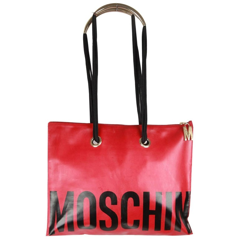 MOSCHINO Vintage Red Vinyl Canvas LOGO TOTE For Sale