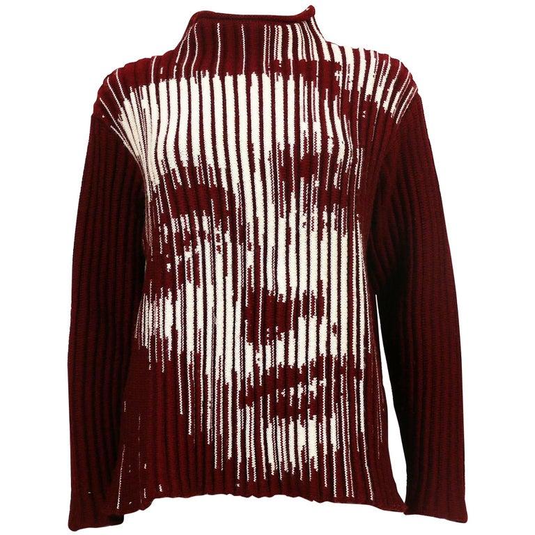 Jean Paul Gaultier Vintage Optical Illusion Dietrich Virgin Wool Sweater Size L