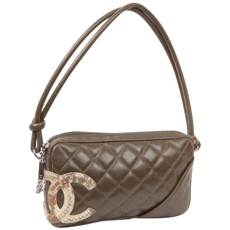 CHANEL 'Cambon' Clutch Bag in Khaki Green Quilted Leather