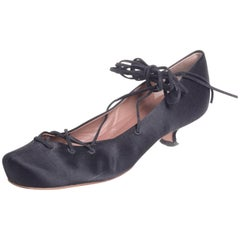 Alaia Black Satin Lace Up Ankle Ties Ballet Slippers Shoes 37EU