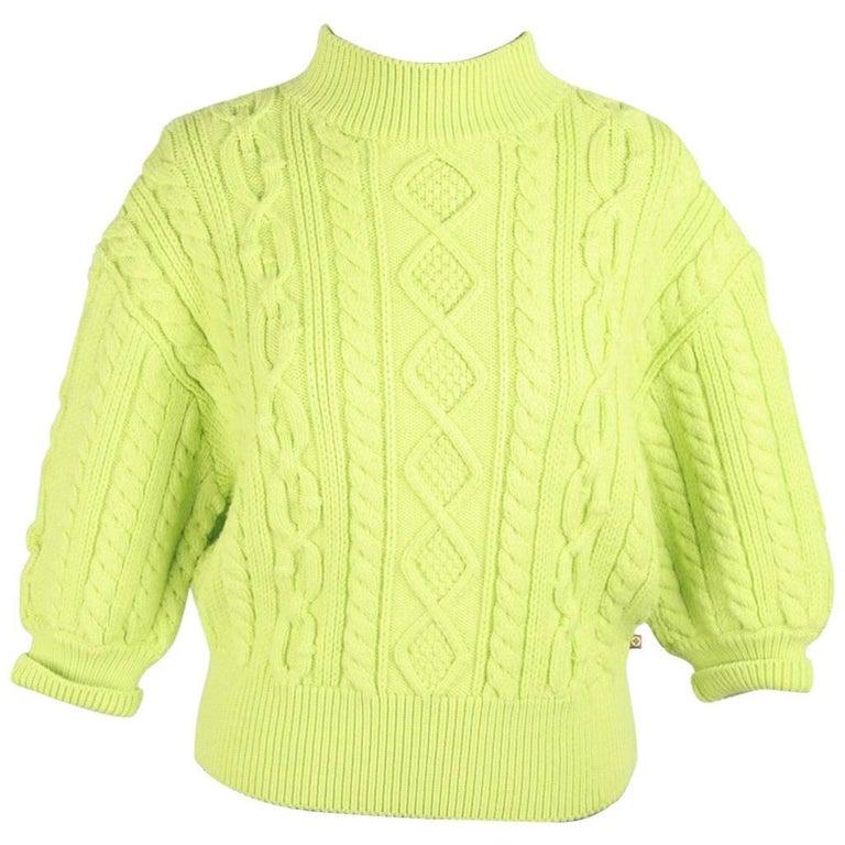 LOUIS VUITTON Green Wool Blend  CROPPED SLEEVE JUMPER Size M