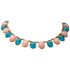 1960s Chanel Choker Composed of Pink and Blue Glass Paste Cabochons