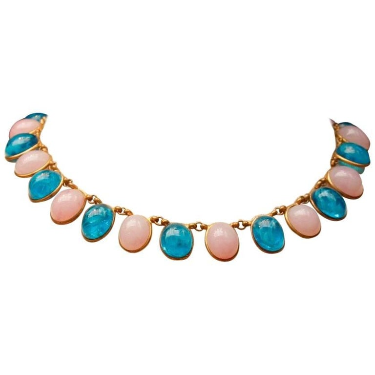 1960s Chanel Choker Composed of Pink and Blue Glass Paste Cabochons For Sale