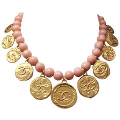 Chanel Pink Beads Choker with Medallions, 1980s