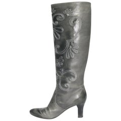 BOTTEGA VENETA Heel Boots in Gray Leather with Embroideries Size 38.5EU
