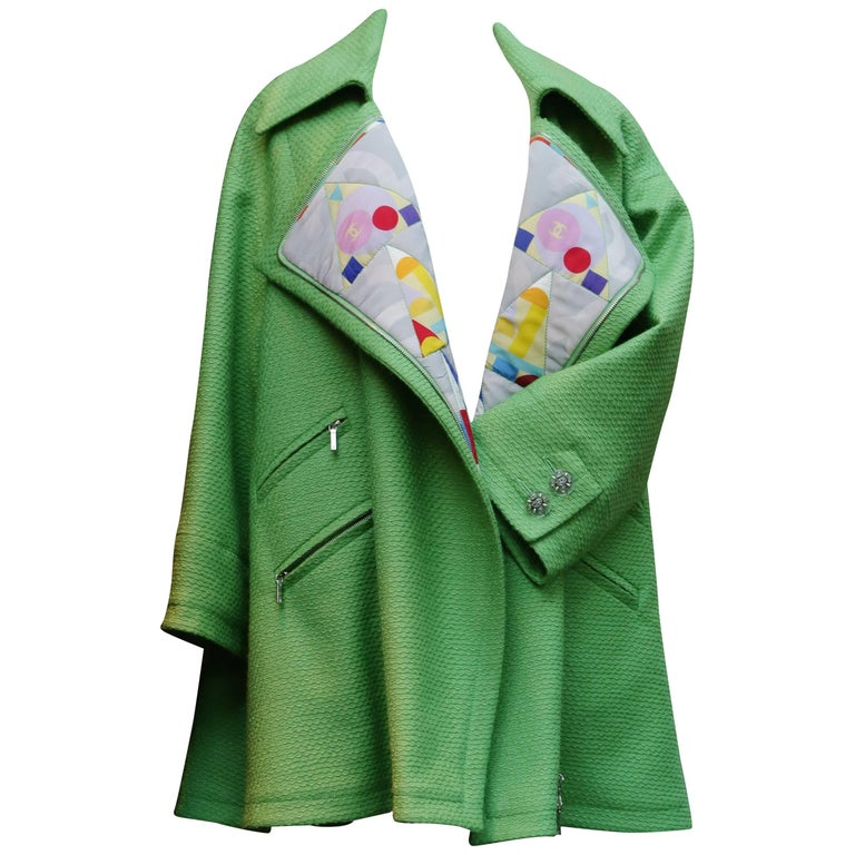 2014-2015 Chanel Oversize Coat in Apple Green Wool