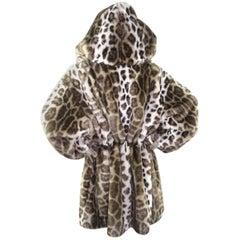 Krizia Leopard Faux Fur Voluminous Hooded Coat