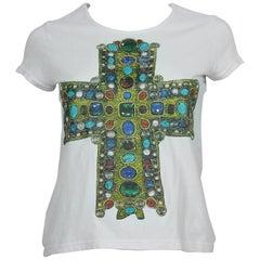 Christian Lacroix Vintage Jewelled Cross Print T-Shirt Size S