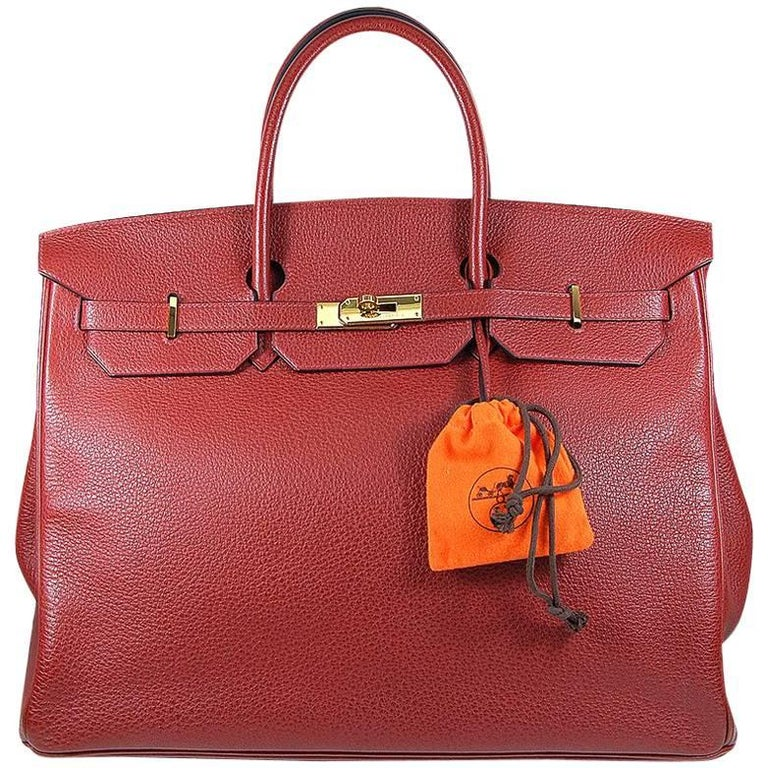 ae818666fa Hermes 40cm Red Birkin Bag For Sale at 1stdibs