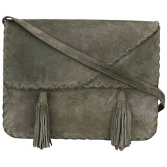 1970 s Grey Saint Laurent Shoulder Suede Bag