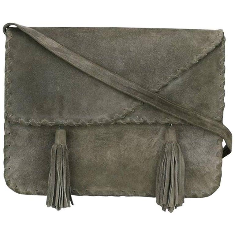 1970 s Grey Saint Laurent Shoulder Suede Bag For Sale