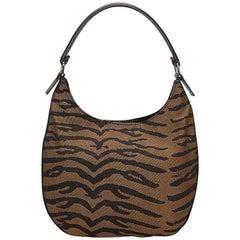 Brown Fendi Zebra Jacquard Hobo Bag