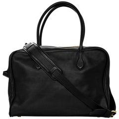 Balmain Black Leather Pierre Satchel Bag with Strap