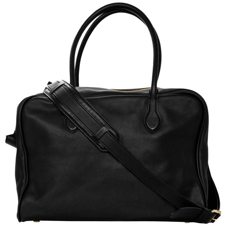 Balmain Black Leather Pierre Satchel Bag with Strap