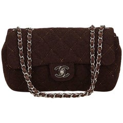 Brown Chanel Matelasse Quilted Wool Flap Bag