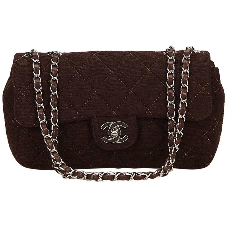 Brown Chanel Matelasse Quilted Wool Flap Bag 1