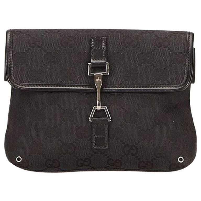 4c65181274f0a6 Gucci Black Jacquard Guccissima Belt Bag For Sale at 1stdibs