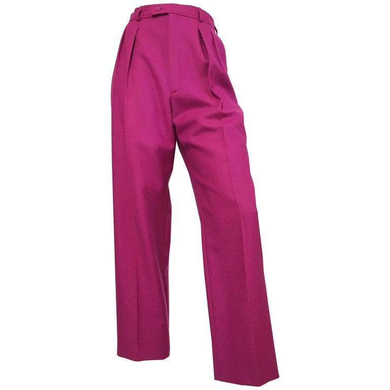 Saint Laurent Rive Gauche 1980s Purple Wool Pleated Pants with Pockets Size 4.