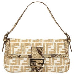 Tan & White Fendi Python-Trimmed Zucca Baguette Bag