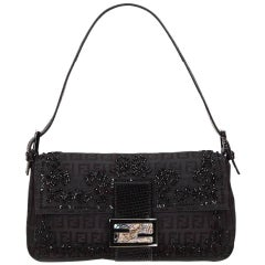 Black Fendi Beaded Zucchino Baguette Bag