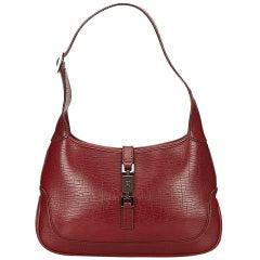 Red Gucci Leather Shoulder Bag