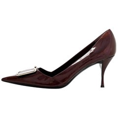 Prada Bronze Patent Pointed Toe Pumps Sz 40.5 with DB