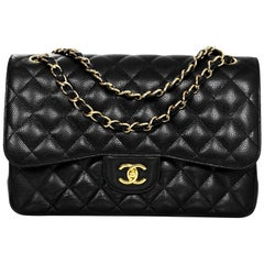 Chanel Black Quilted Caviar Leather Jumbo Double Flap Classic Bag with Card