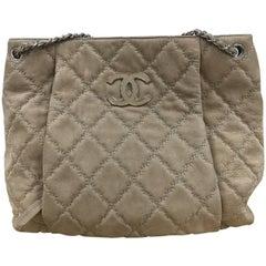 Chanel Double Stitch Hampton Shoulder Bag Quilted Nubuck Large