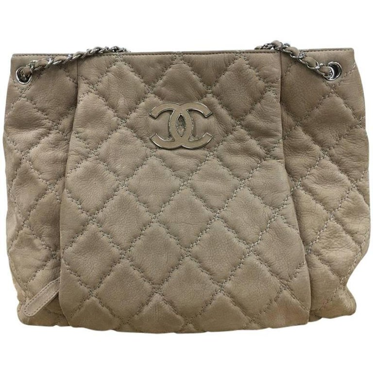 b65b594a6eeae2 Chanel Double Stitch Hampton Shoulder Bag Quilted Nubuck Large For Sale