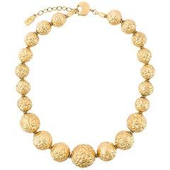 Gold Tone Saint Laurent Beaded Necklace