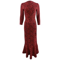 ALAIA Fall 2016 Runway Red and black flocked Lace Overlay Gown