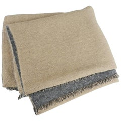 Brunello Cucinelli Gold and Grey Double Sided Large Cashmere Scarf Shawl Wrap