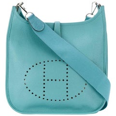 Turquoise Calf Leather Hermes Evelyne PM Size Shoulder Bag