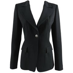 CHANEL 08A Fall 2008 Classic Black Wool Blazer Jacket with Lion Button