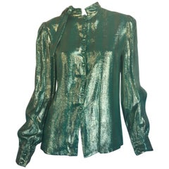 Adolfo metallic green blouse