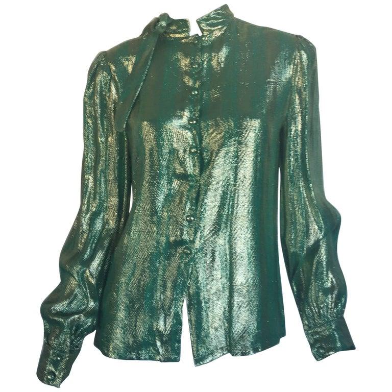 Adolfo metallic green blouse