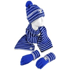 Chanel Fall 2014 Supermarket Blue and White Cashmere Knit Scarf Hat Gloves Set