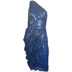 Bill Blass one shoulder metallic draped blue dress