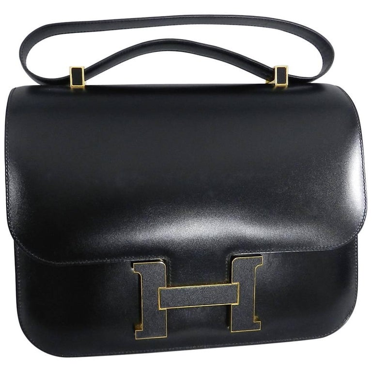 956ca0ea966d Hermes Limited Edition Constance Cartable Black Box Leather with Gold  Hardware For Sale